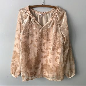 Nanette Lepore Paisley Velvet Semi Sheer Top - S